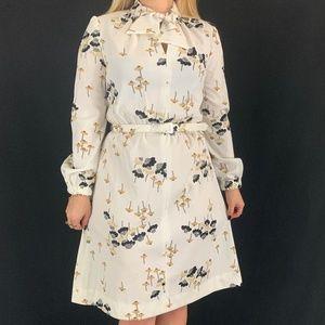 60s/70s Alison Ayres Original Floral Tie Neck Dres